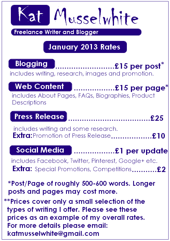 January 2013 Freelance Writing Rates